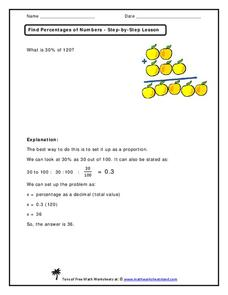 Find Percentages of Numbers - Step-by-Step Lesson Handouts & Reference