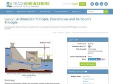 Archimedes' Principle, Pascal's Law and Bernoulli's Principle Lesson Plan