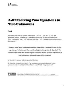 Solving Two Equations in Two Unknowns Assessment
