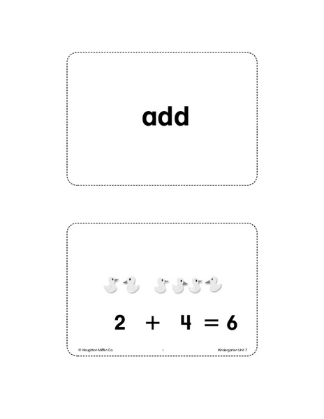 Unit 7 Math Vocabulary Cards (Grade K) Printables & Template