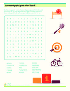 summer olympic sports word search worksheet for 3rd 5th grade lesson planet. Black Bedroom Furniture Sets. Home Design Ideas