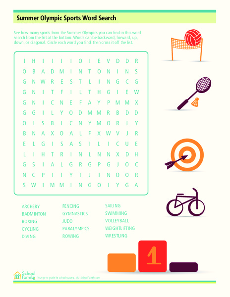 Summer Olympic Sports Word Search Worksheet