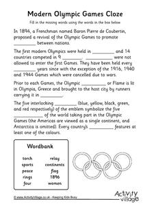 Modern Olympic Games Cloze Worksheet
