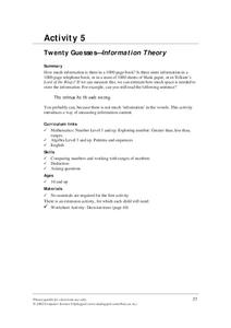 Twenty Guesses—Information Theory Activities & Project