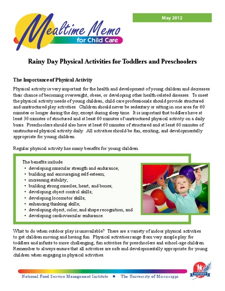 Rainy Day Physical Activities for Toddlers and Preschoolers Activities & Project