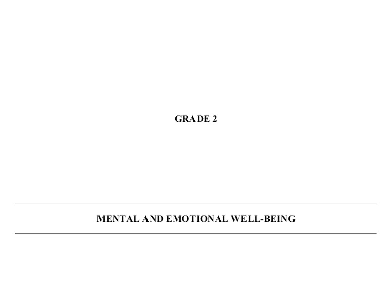 Mental and Emotional Well Being Handouts & Reference