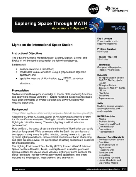 Lights on the International Space Station Lesson Plan