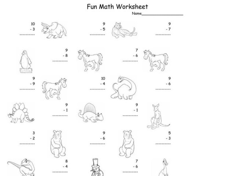 Fun Math Worksheet: 1-Digit Subtraction 3 Worksheet