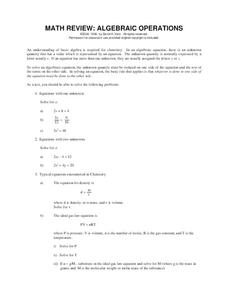 Math Review: Algebraic Operations Handouts & Reference