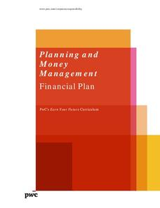 Planning and Money Management: Financial Plan Lesson Plan