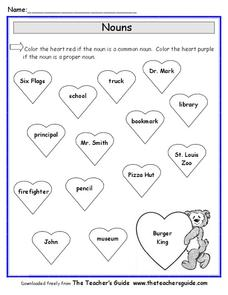 Common and Proper Nouns for Valentine's Day Worksheet