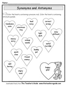 Synonyms and Antonyms for Valentine's Day Worksheet for