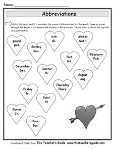 Abbreviations for Valentine's Day Worksheet