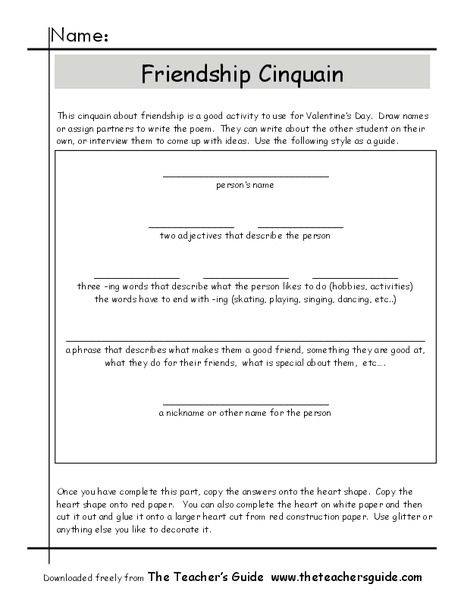 Friendship Cinquain Worksheet