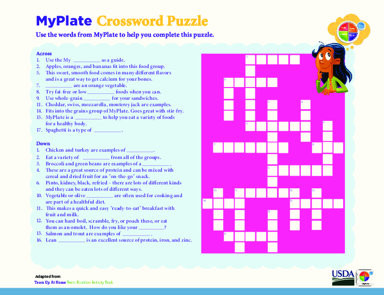 MyPlate Crossword Puzzle 2nd 4th Grade Worksheet – My Plate Worksheet