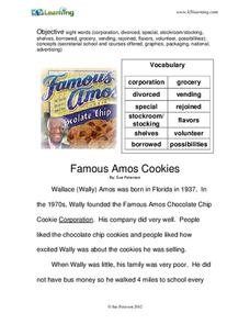 Famous Amos Cookie Worksheet