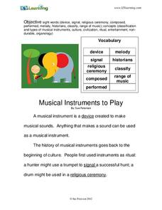 Musical Instruments to Play Worksheet