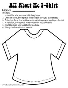 All about Me T-Shirt Graphic Organizer