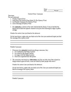 Context Clues: Synonyms Worksheet for 4th - 6th Grade