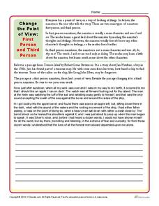 Change the Point of View: First Person and Third Person Worksheet ...