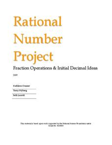 Rational Number Project Unit