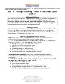 Using Connecting Themes in First Grade Social Studies Unit