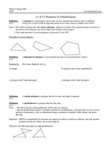 Properties of a Parallelogram Worksheet