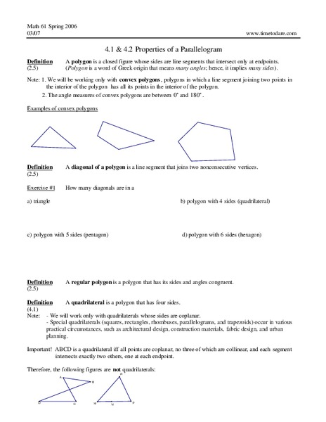 Properties of a Parallelogram Worksheet for 9th - 12th Grade