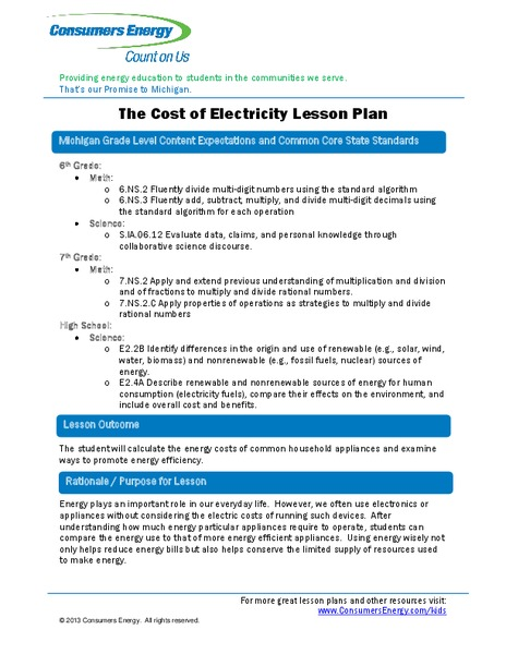 The Cost of Electricity Lesson Plan