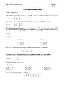 Arithmetic of Fractions Handouts & Reference