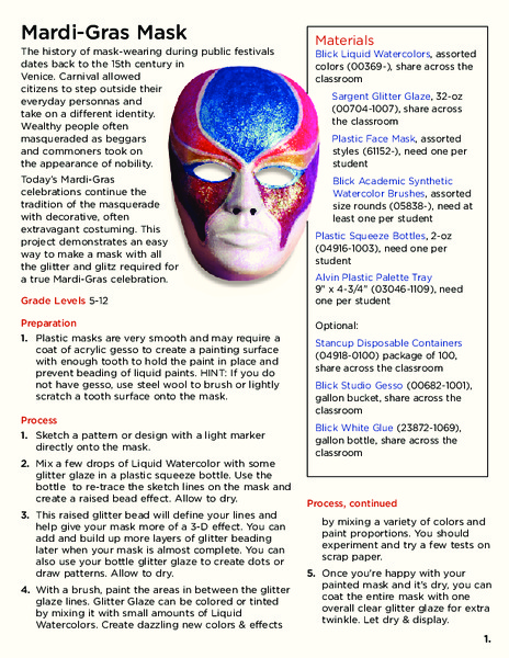 Mardi-Gras Mask Activities & Project