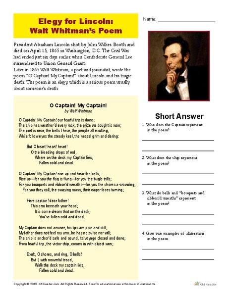 Elegy for Lincoln: Walt Whitman's Poem Worksheet