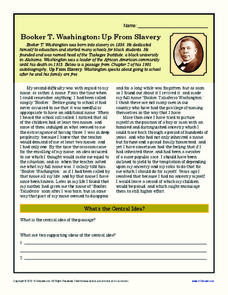 Booker T. Washington: Up From Slavery Worksheet