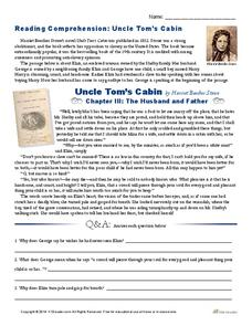 Reading Comprehension: Uncle Tom's Cabin Worksheet