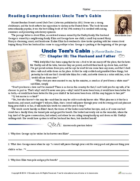 Reading Comprehension Uncle Tom S Cabin Worksheet For 9th