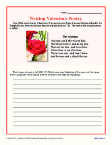 Writing Valentine Poetry Writing Prompt
