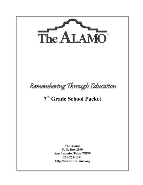 The Alamo - Remembering Through Education Activities & Project