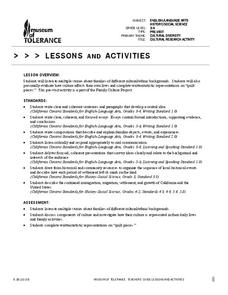 Cultural Research Activity Handouts & Reference