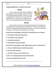 Reading Comprehension: Compare and Contrast Worksheet for 2nd - 3rd ...