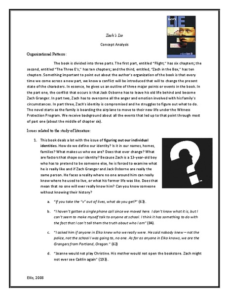Zach's Lie: Concept Analysis Handouts & Reference