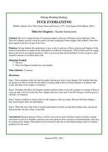 Tuck Everlasting: Titles for Chapters Activities & Project