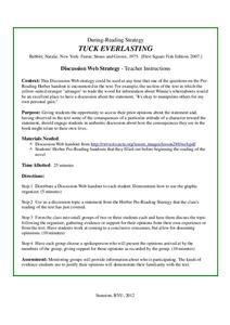 Tuck Everlasting: Discussion Web Strategy Activities & Project