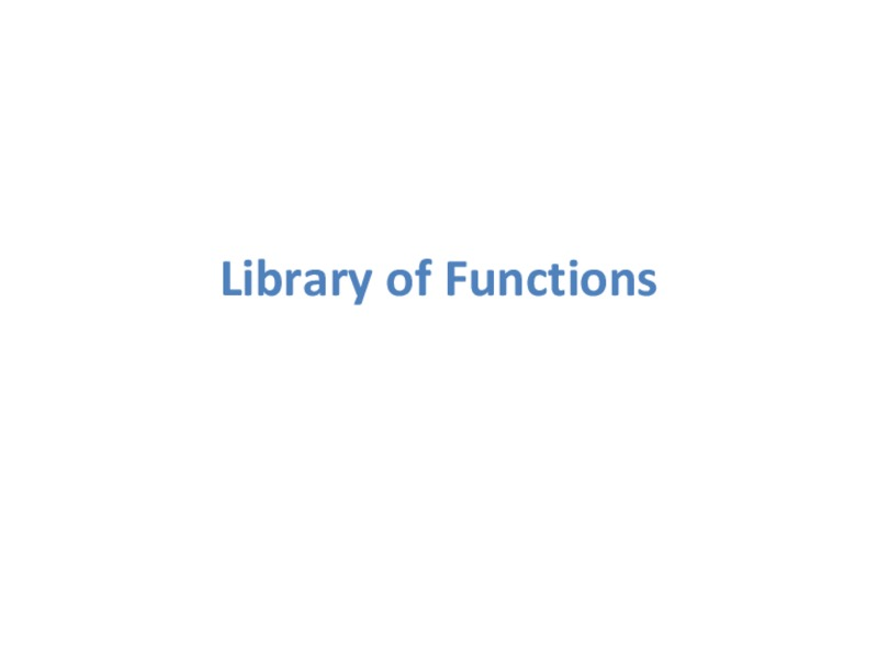 Library of Functions Presentation
