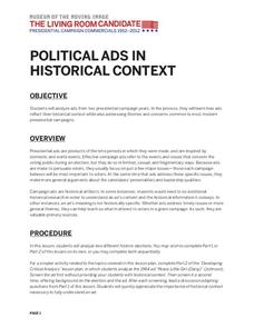 political ads in historical context lesson plan - Living Room Candidate Lesson Plan