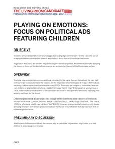 playing on emotions focus on political ads featuring children lesson plan - Living Room Candidate Lesson Plan