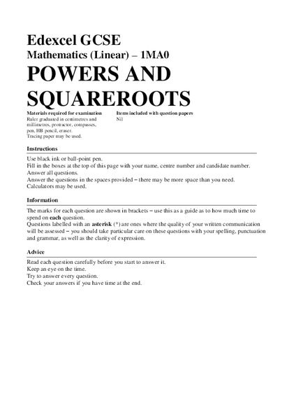 Powers and Square Roots Assessment