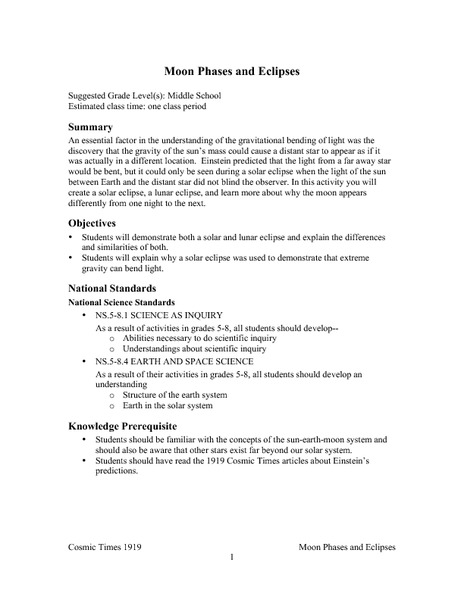 Moon Phases and Eclipses Lesson Plan