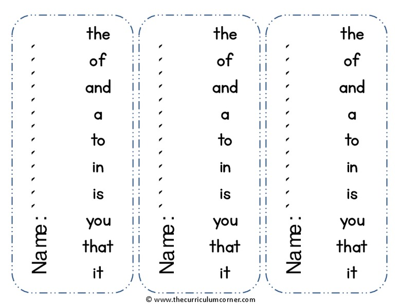 Fry Word Strips Printables & Template