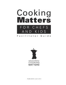 Cooking Matters: For Chefs and Kids Activities & Project