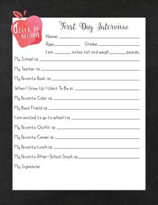 First Day Interview Worksheet